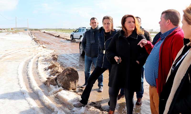 La consejera de Agricultura Carmen Crespo visita los invernaderos afectados por el granizo en el campo de Níjar. /joseantonioarcos.es