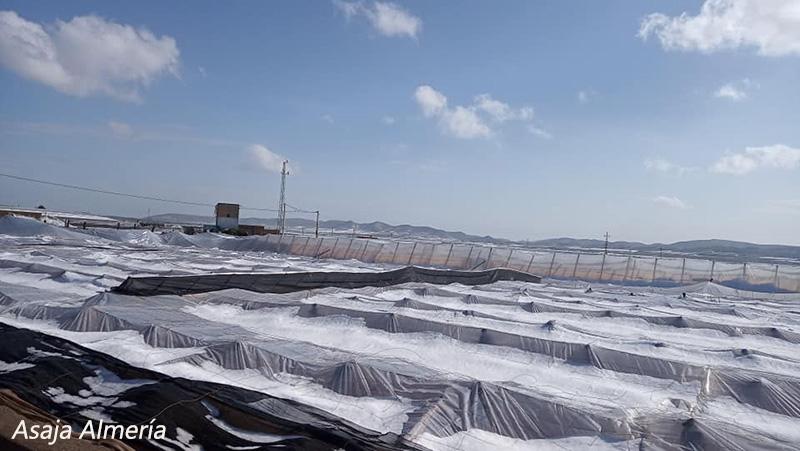 Granizada sobre el campo de Níjar. /joseantonioarcos.es