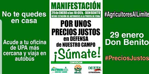 Protestas agricultores en Don Benito-joseantonioarcos.es
