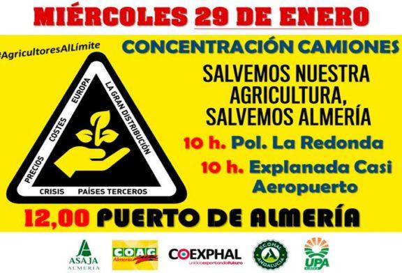 Protesta de vehículos agrícolas el día 29 en Almería