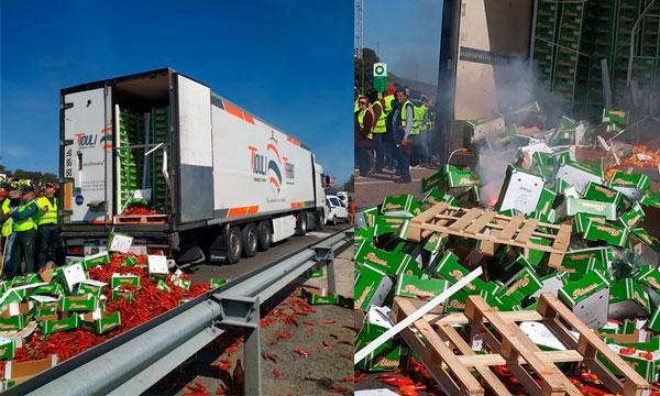Los agricultores en Jaén queman cajas de hortalizas de un camión de Marruecos. /joseantonioarcos.es