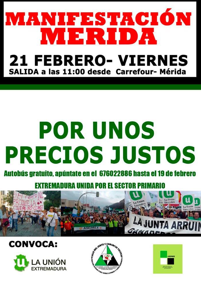 Manifestación de agricultores y ganaderos en Mérida. /joseantonioarcos.es