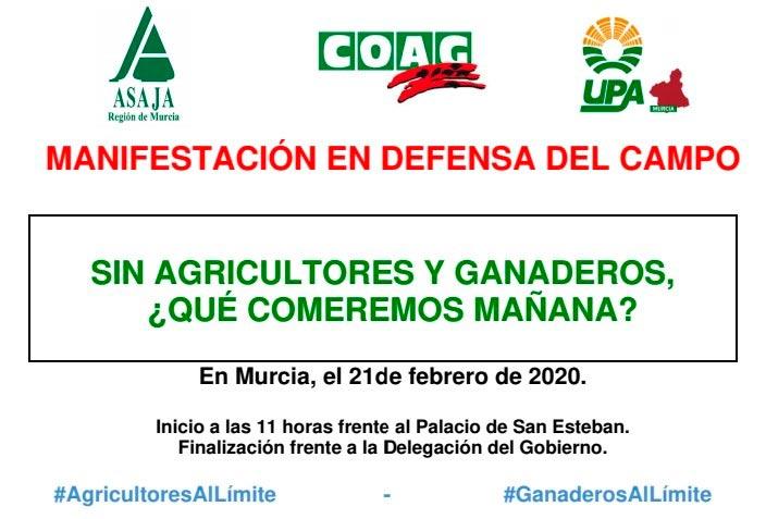 Manifestación de agricultores y ganaderos en Murcia. /joseantonioarcos.es
