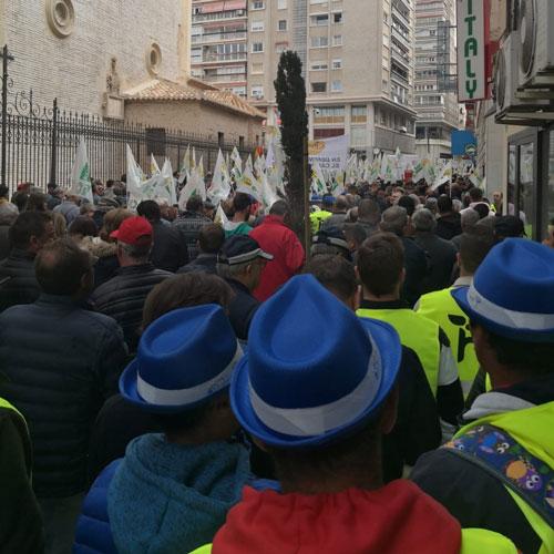 Manifestación de agricultores en Murcia.