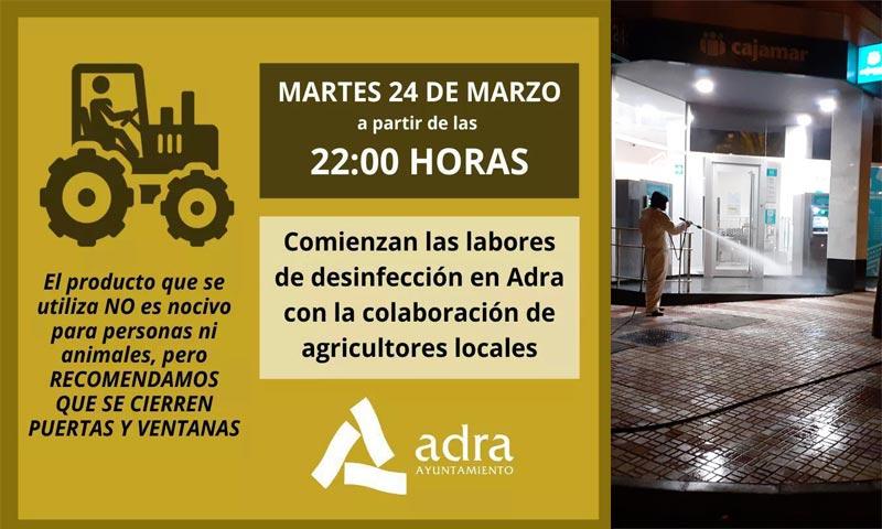 Cartel informativo de esta pasado martes. Esta noche, jueves 26, se completarán estos trabajos de desinfección ante el Covid-19. /joseantonioarcos.es
