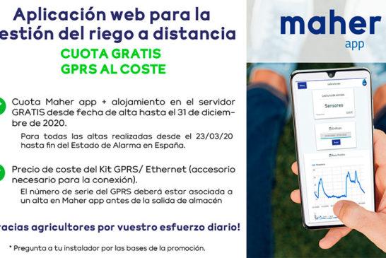 Maher lanza gratis su aplicación web para la gestión del riego a distancia