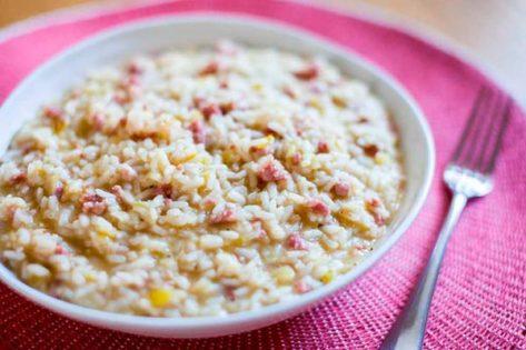 Risotto de puerro y salchichas con Parmigiano Reggiano-joseantonioarcos.es