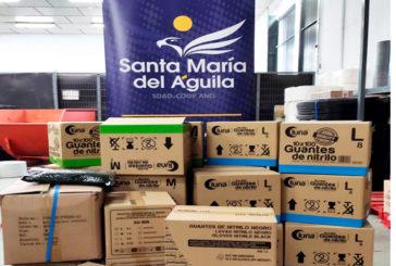 Santa Mª del Águila dona EPIS, ponchos de plástico y guantes