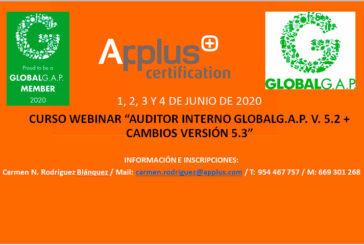 Del 1 al 4 de junio. Curso webinar Auditor Interno de GLOBALG.A.P.